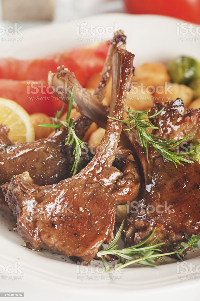 Roasted lamb chops royalty-free stock photo