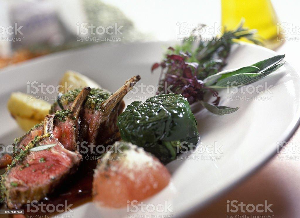 roasted lamb gourmet dish stock photo