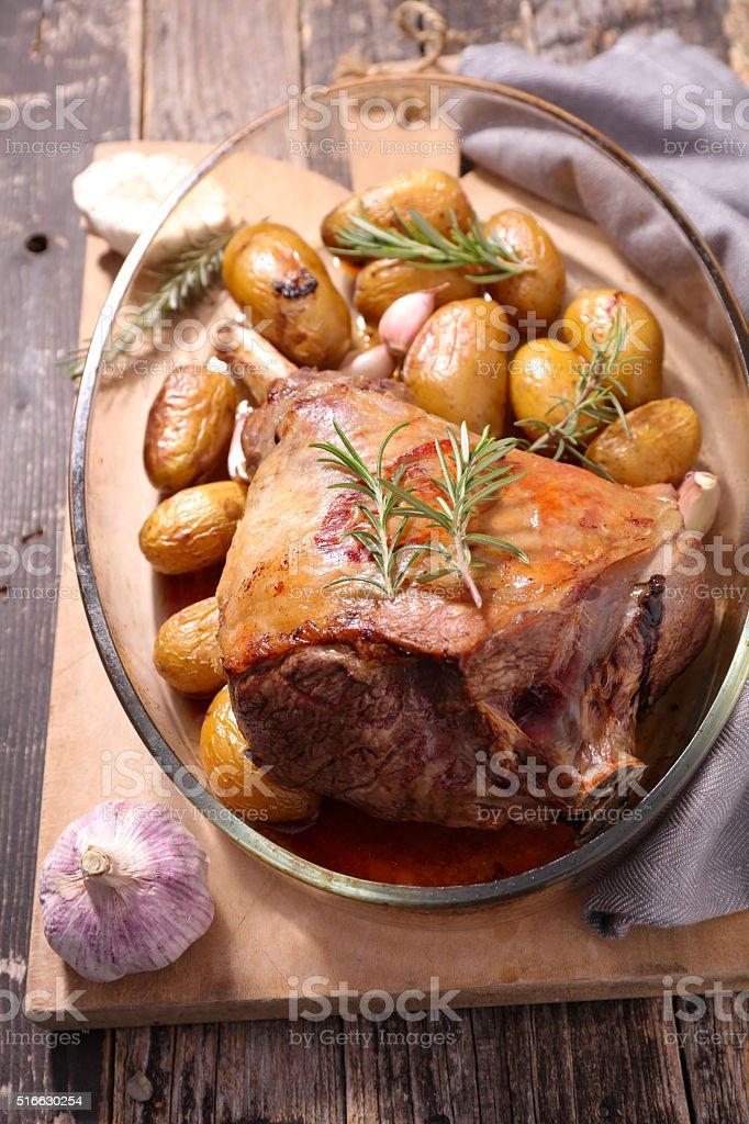 roasted lamb leg stock photo