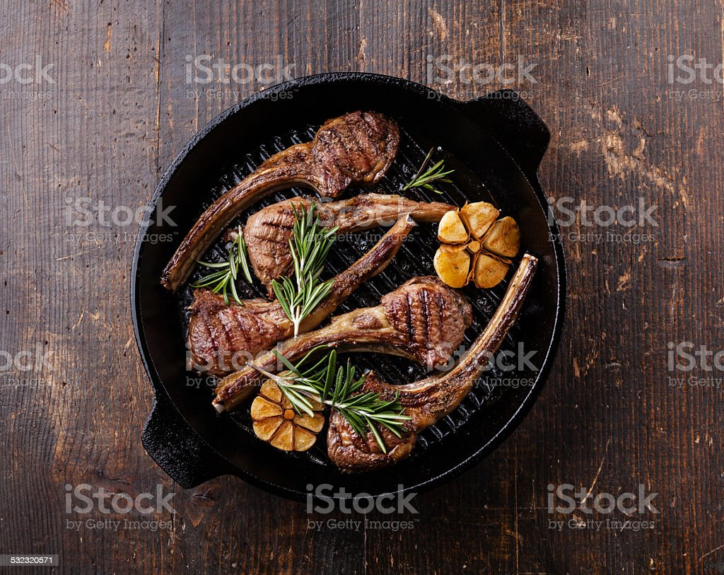 Roasted lamb ribs stock photo