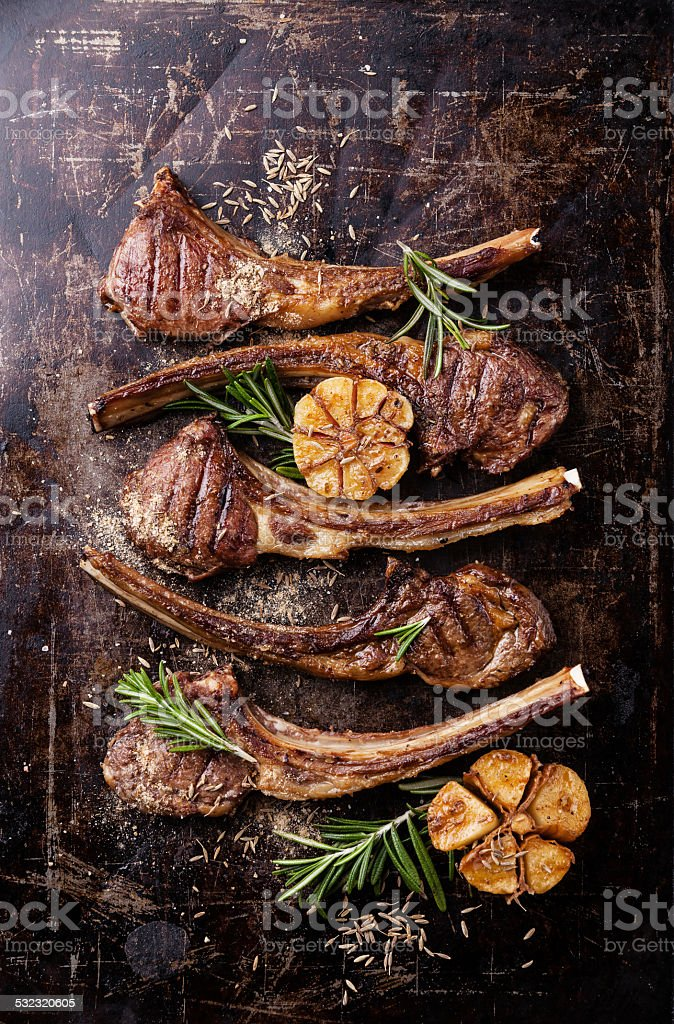 Roasted lamb ribs stock photo