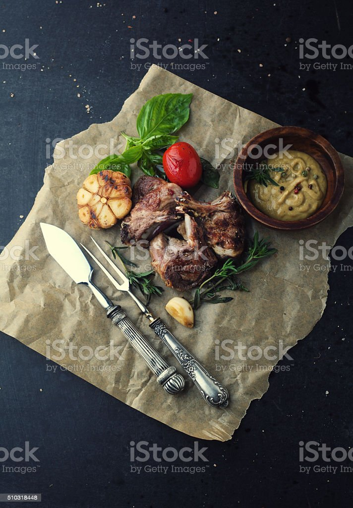 Roasted lamb ribs with stock photo