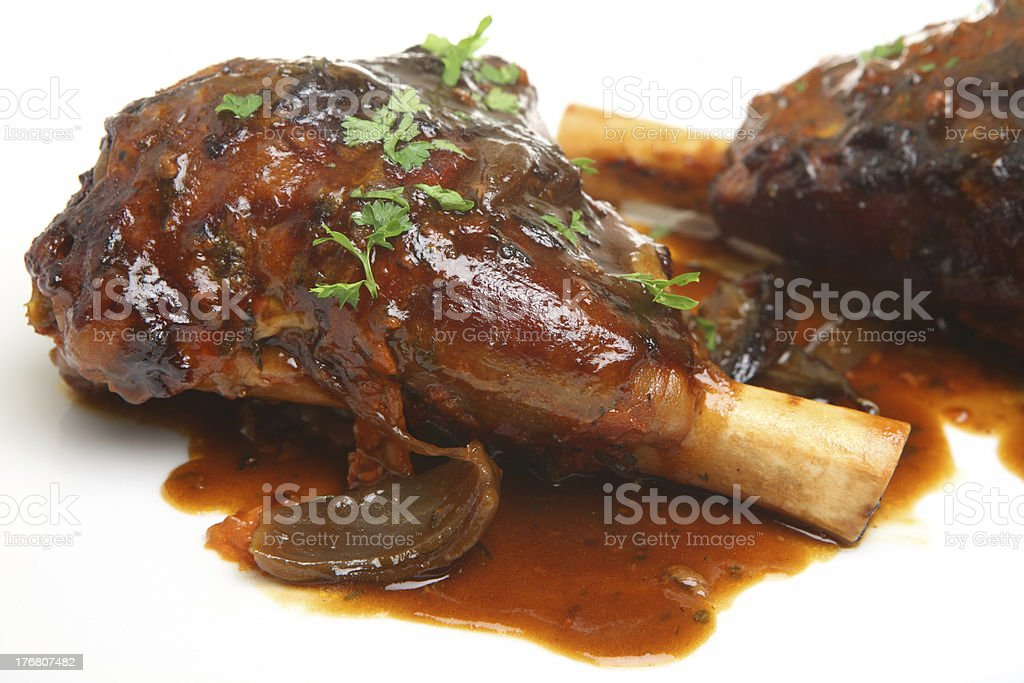 Roasted Lamb Shanks stock photo