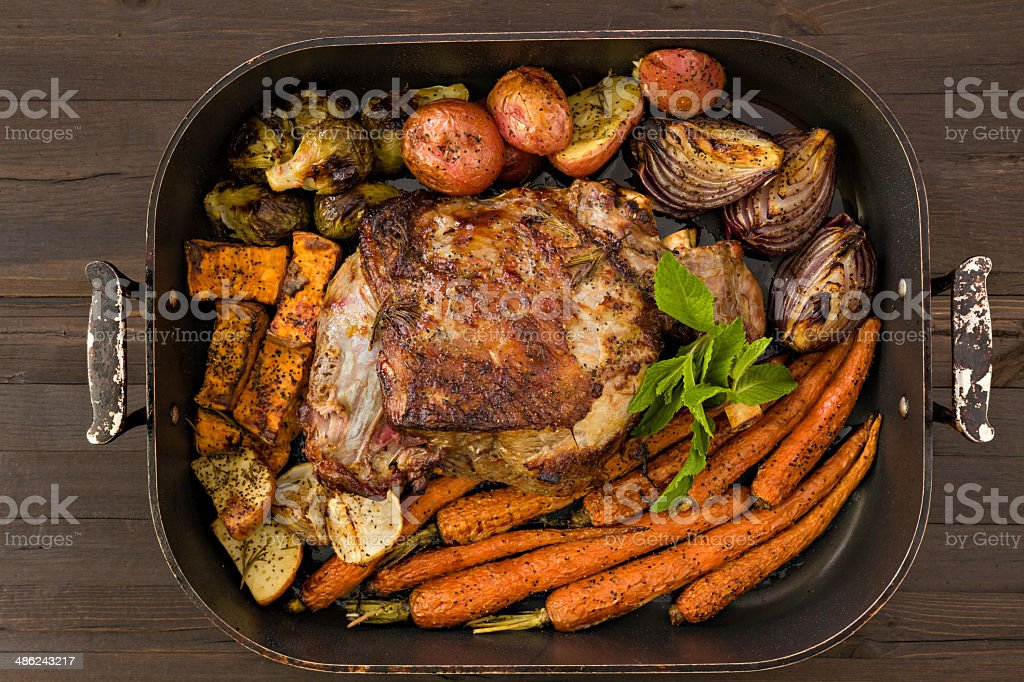 Roasted Leg Of Lamb And Vegetables royalty-free stock photo