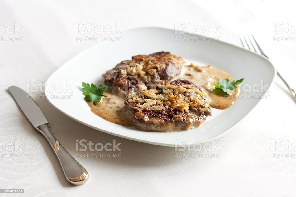 roasted meat with mustard sauce royalty-free stock photo