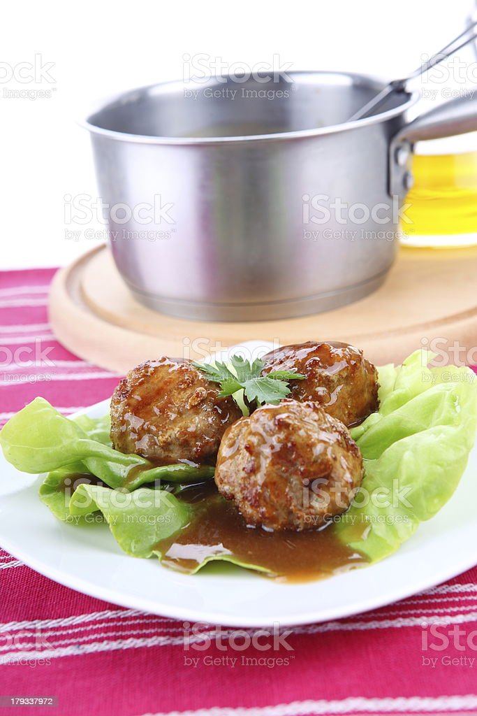 Roasted meatballs royalty-free stock photo