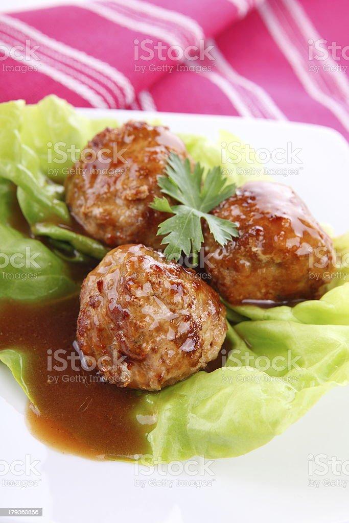 Roasted meatballs royalty-free stock photo