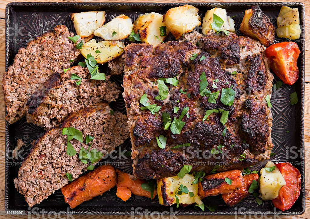 Roasted Meatloaf and Trimmings stock photo