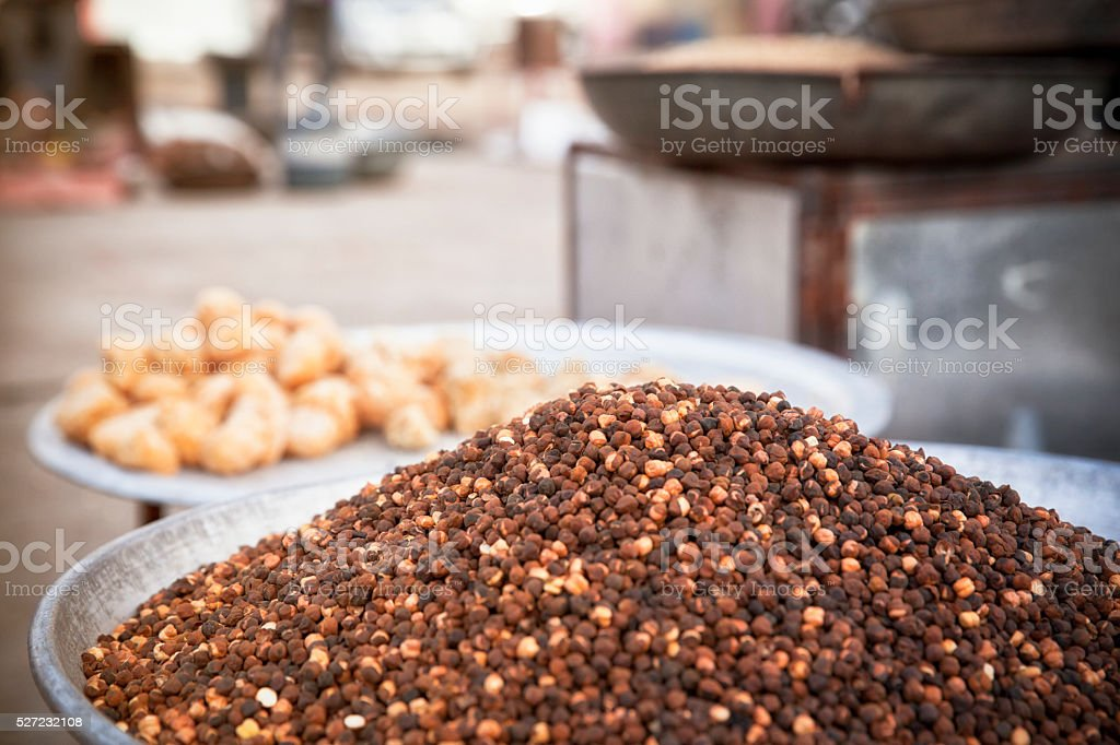 Roasted Mung Beans in Rajastan - India. stock photo