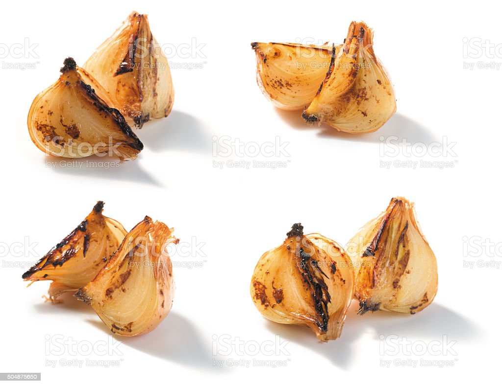 roasted onion pieces stock photo