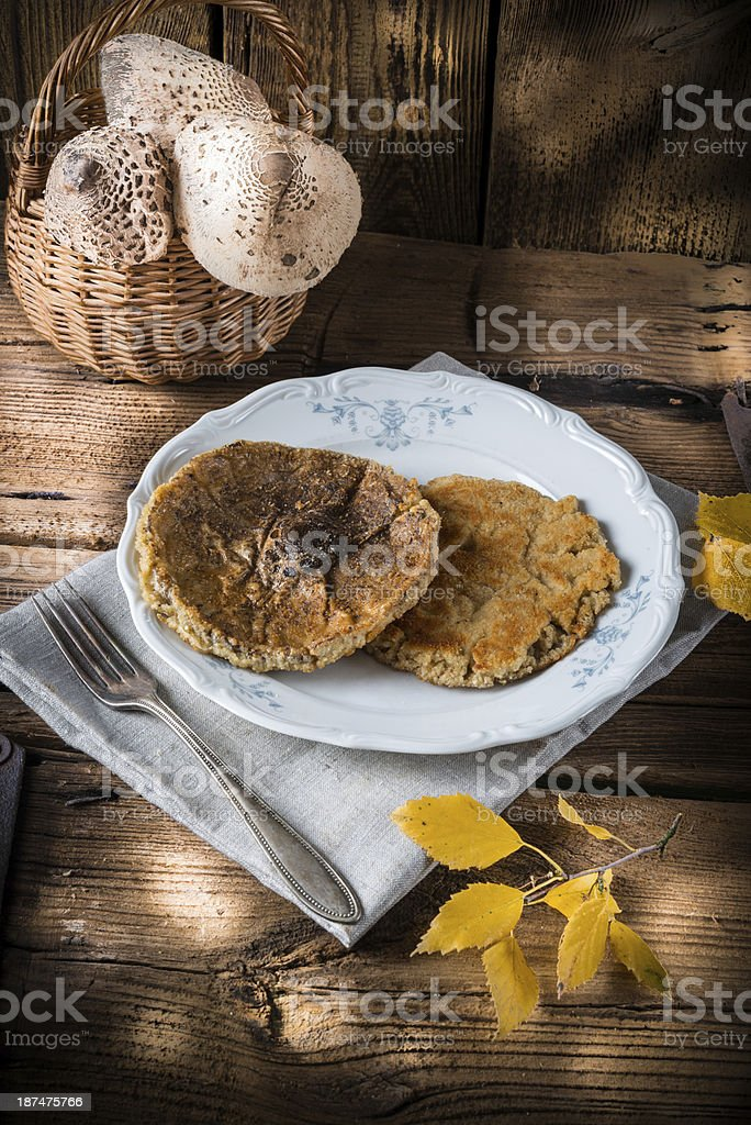 roasted parasol mushroom stock photo
