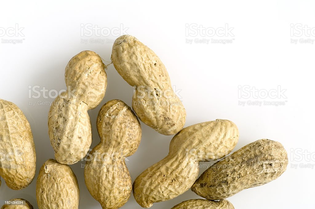 Roasted Peanutes on White with Copy Space royalty-free stock photo