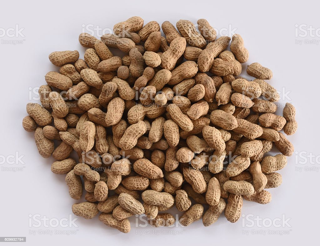 Roasted peanuts in shell stock photo