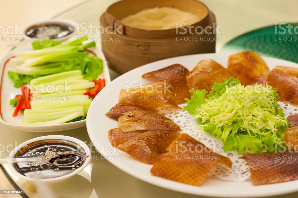 Roasted Peking duck in chinese food restaurant stock photo