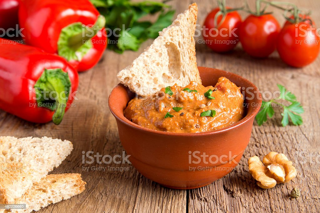 roasted pepper dip stock photo