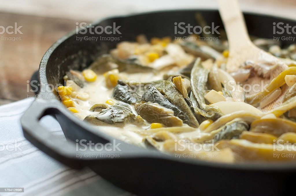 Roasted peppers, corn and cream, authentic mexica dish stock photo