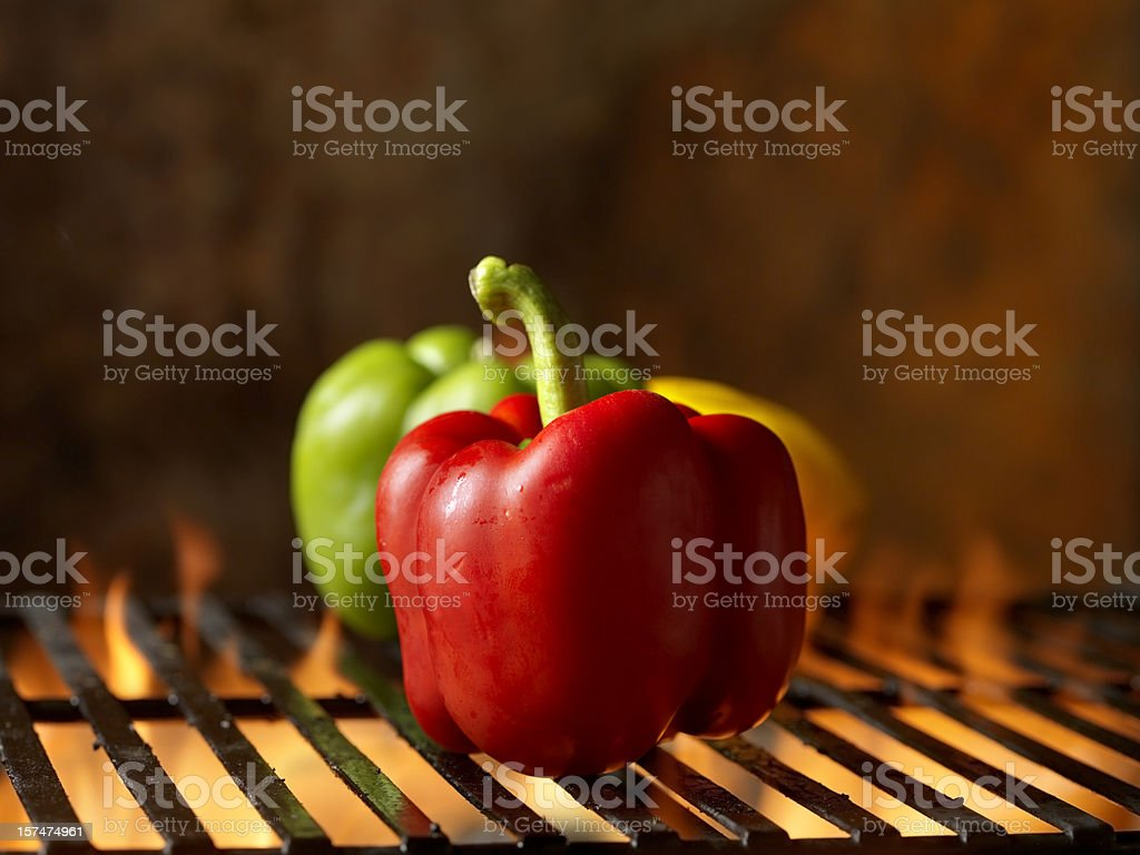 Roasted Peppers on the BBQ Grill stock photo