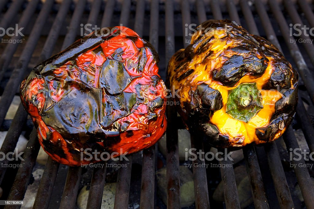 Roasted Peppers on the Grill royalty-free stock photo
