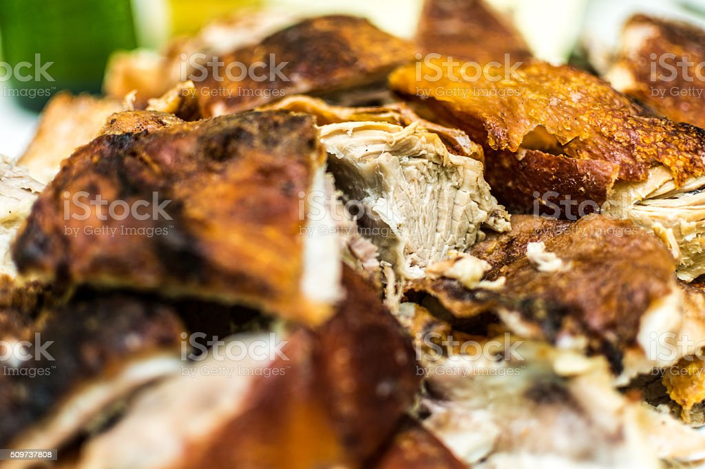 Roasted Piglet On A Plate stock photo