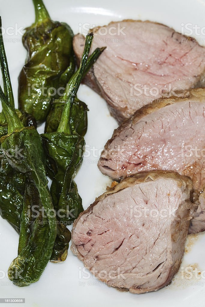 Roasted porc sirloin stock photo