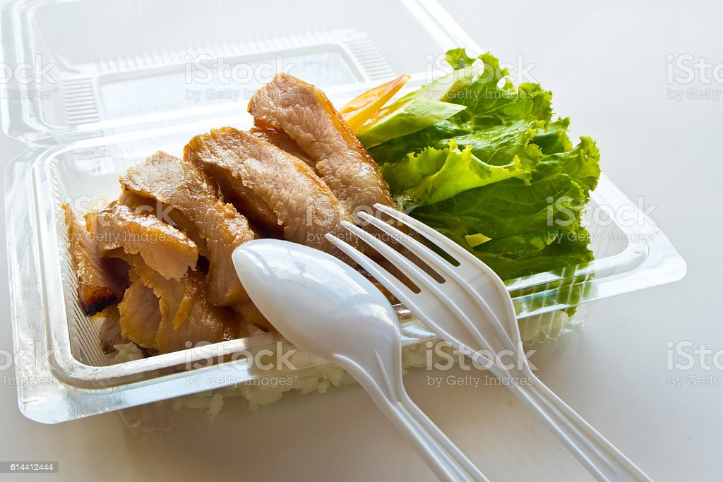 Roasted pork and rice in a plastic box stock photo