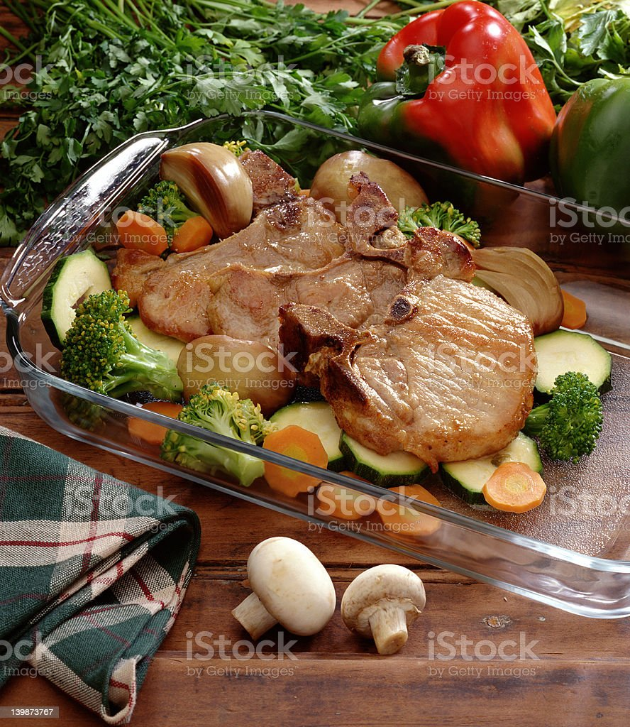 roasted pork chops royalty-free stock photo