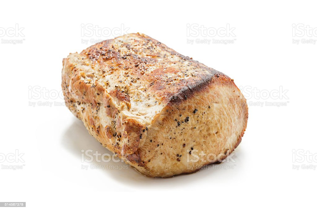 Carne suína assada sobre prato branco foto royalty-free