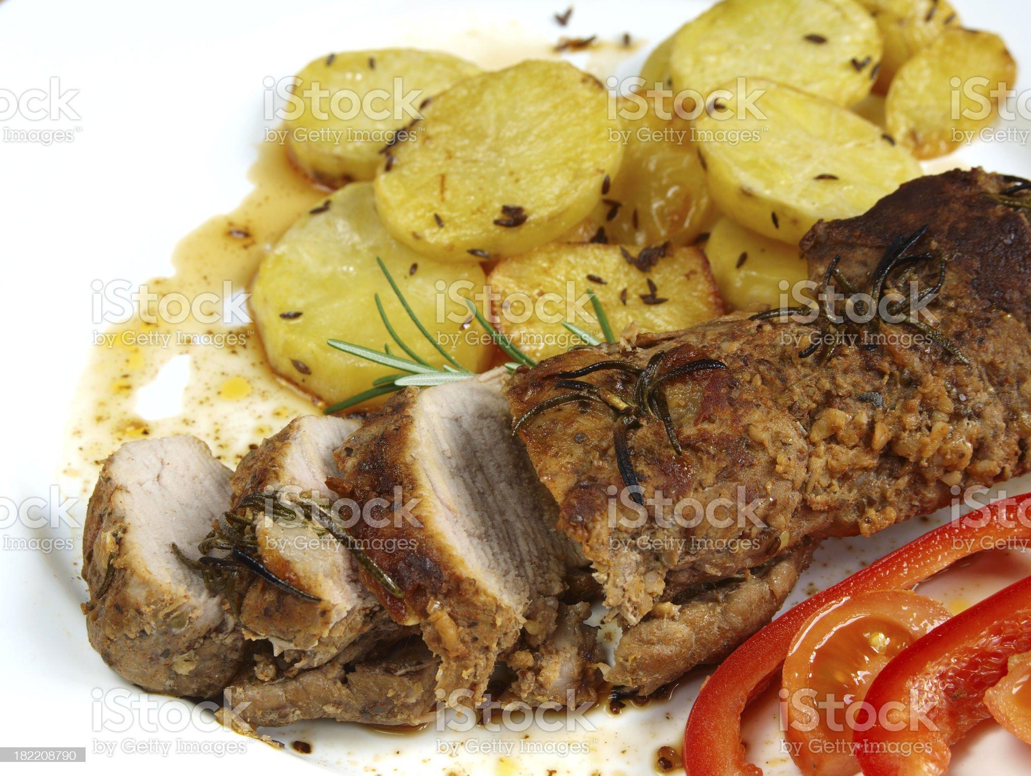 Roasted pork sirloin royalty-free stock photo