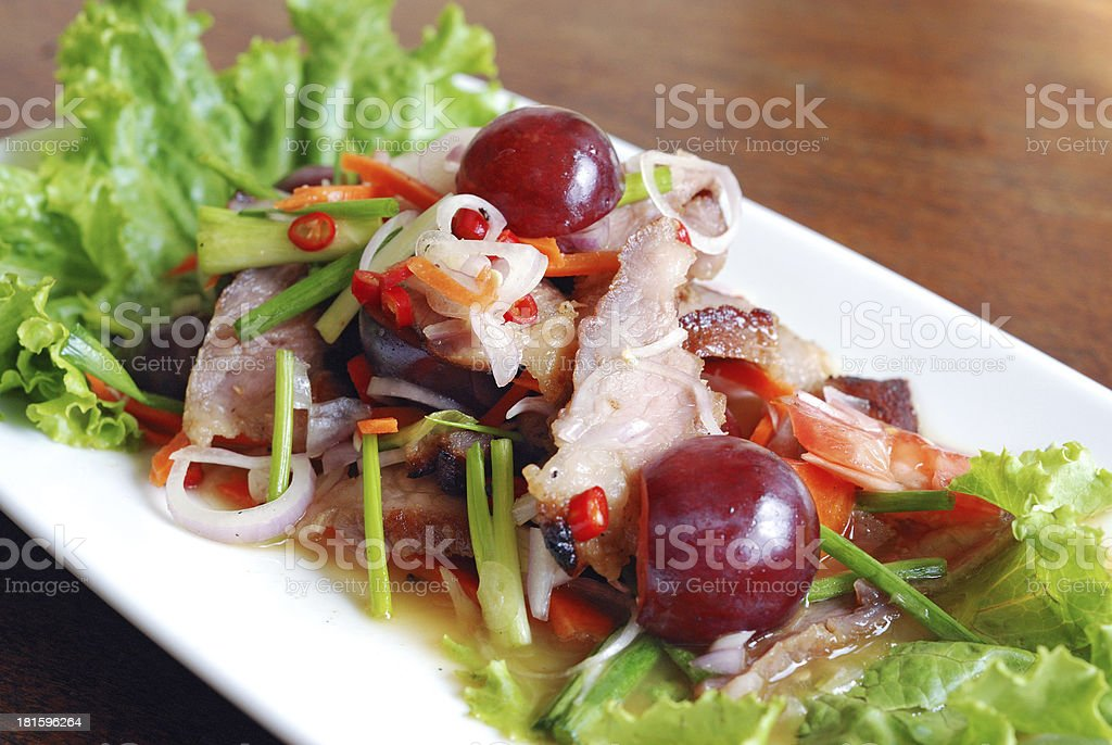 roasted pork spicy salad royalty-free stock photo