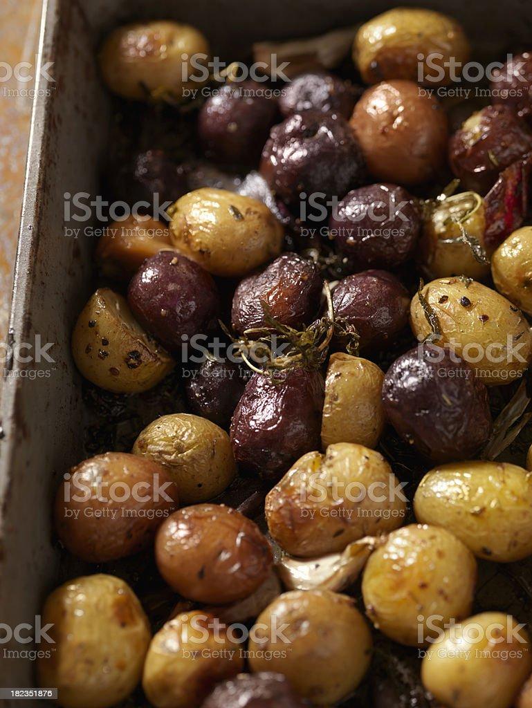 Roasted Potatoes and Garlic with Rosemary royalty-free stock photo