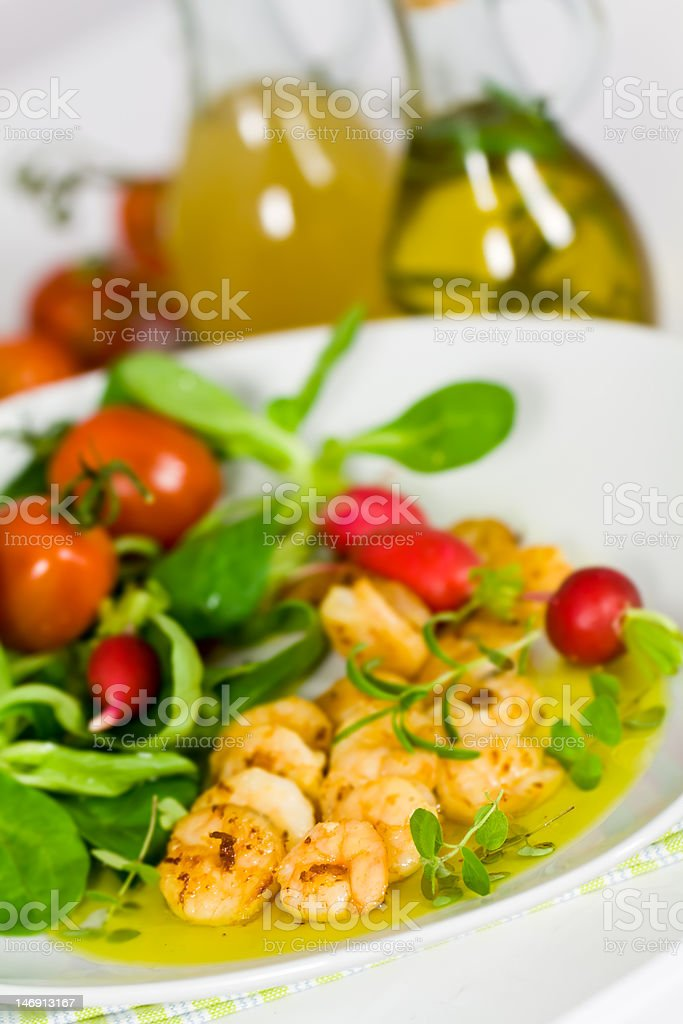 Roasted prawns with corn salad,cherry tomatoes and sauce royalty-free stock photo