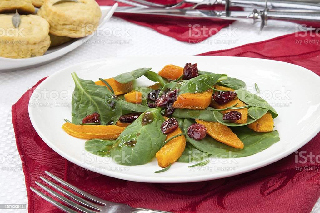 Roasted Pumpkin and Spinach Salad royalty-free stock photo