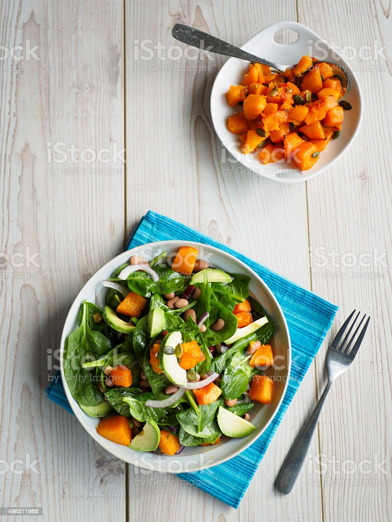 roasted pumpkin salad stock photo