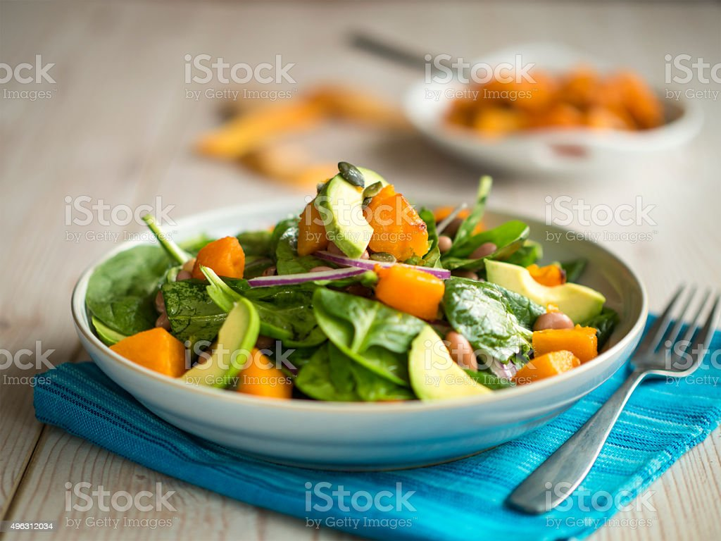 roasted pumpkin salad stock photo