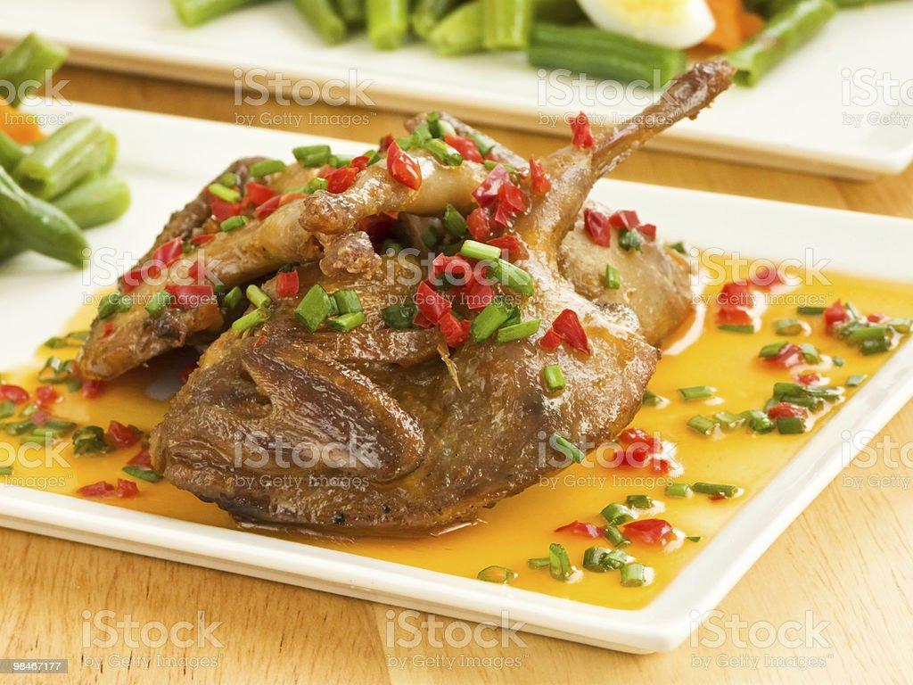 Roasted quails stock photo