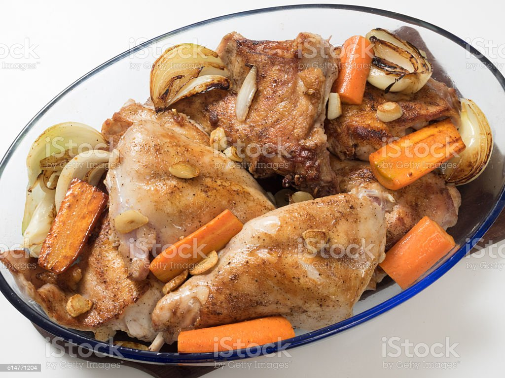 Roasted rabbit with herbs and vegetables royalty-free stock photo