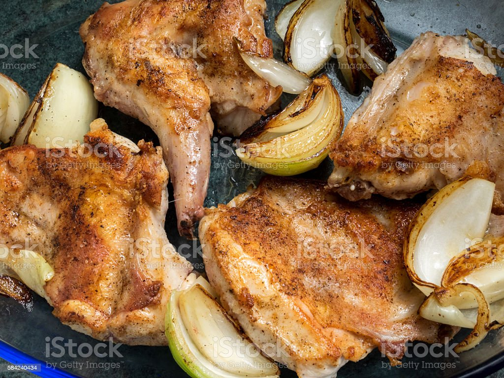 Roasted rabbit with onion royalty-free stock photo