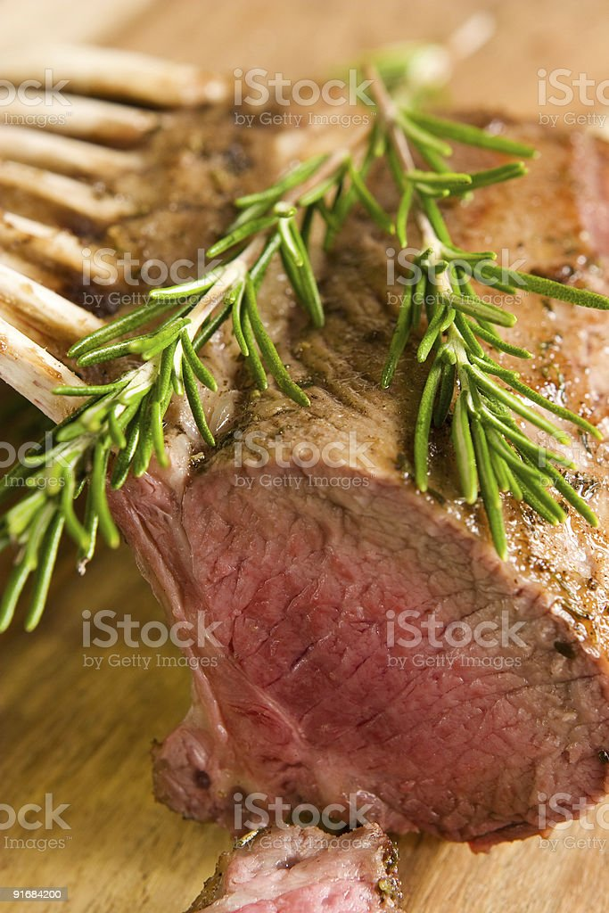 Roasted rack of lamb royalty-free stock photo