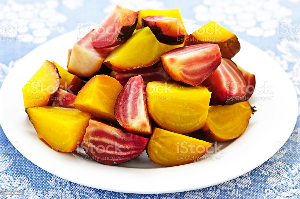 Roasted red and golden beets royalty-free stock photo