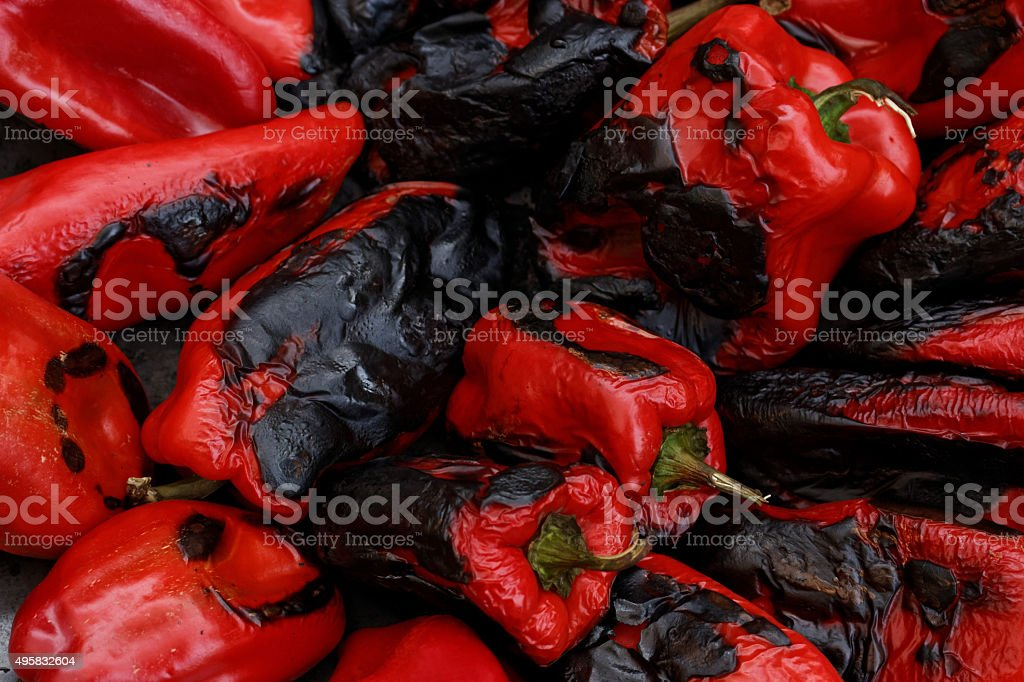 Roasted red bell pepers stock photo