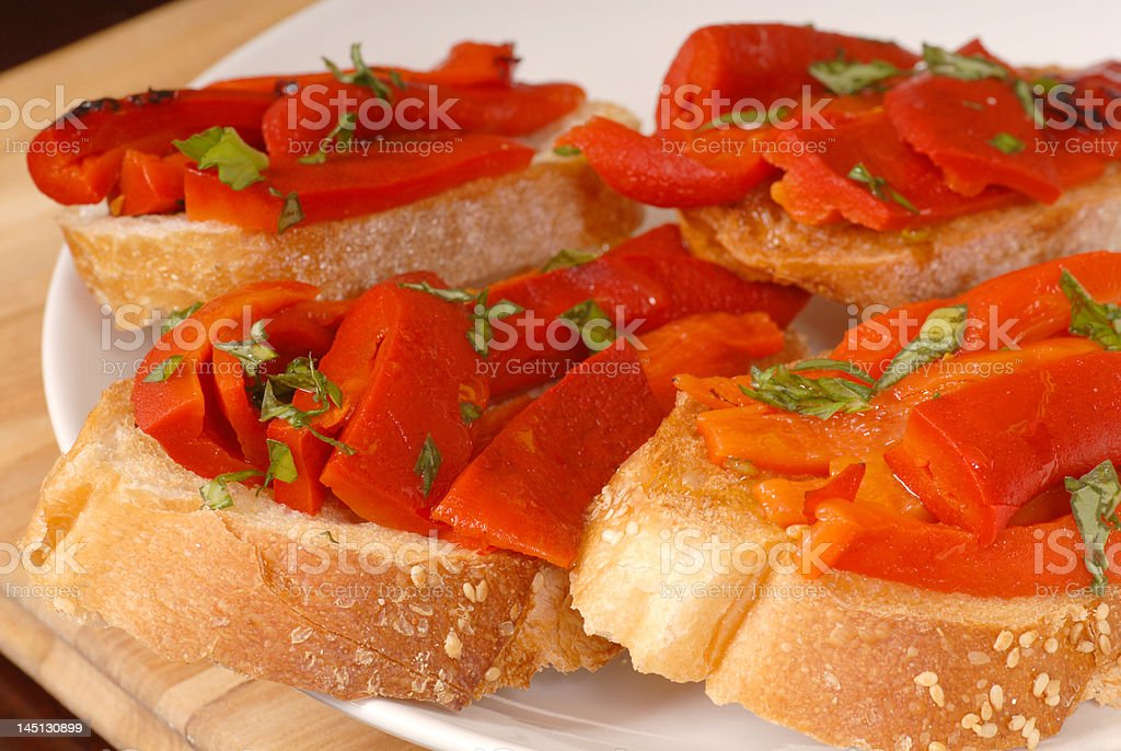 Roasted red pepper and basil bruschetta royalty-free stock photo