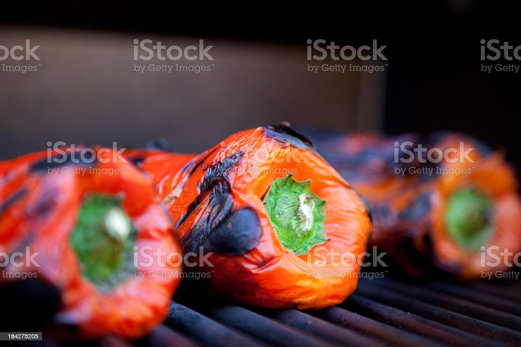 Roasted Red Peppers on the Grill stock photo