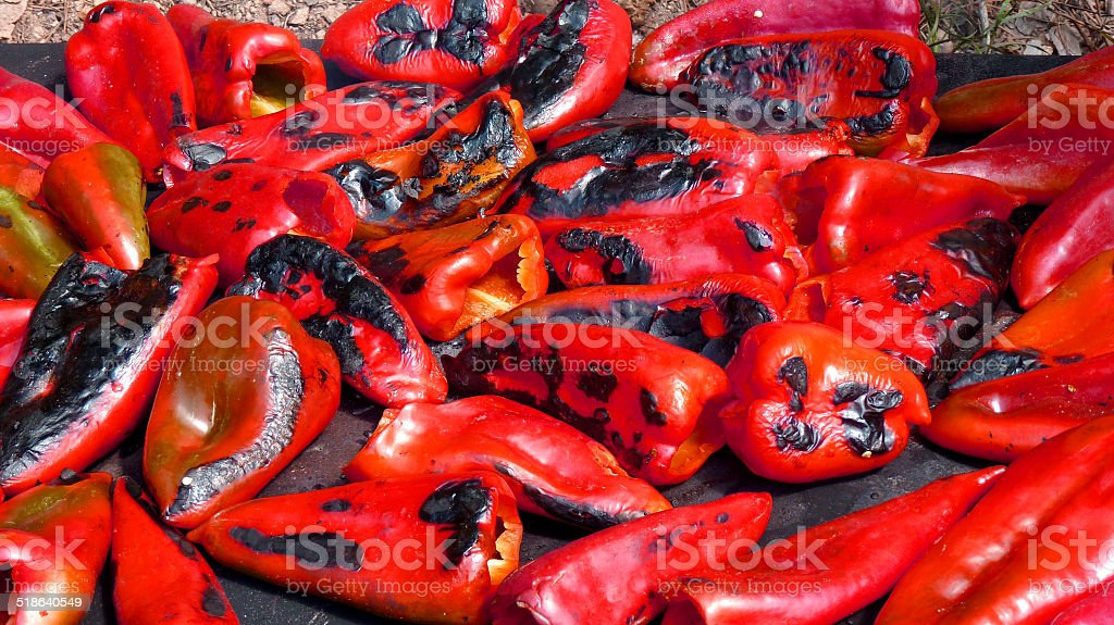 Roasted red peppers stock photo