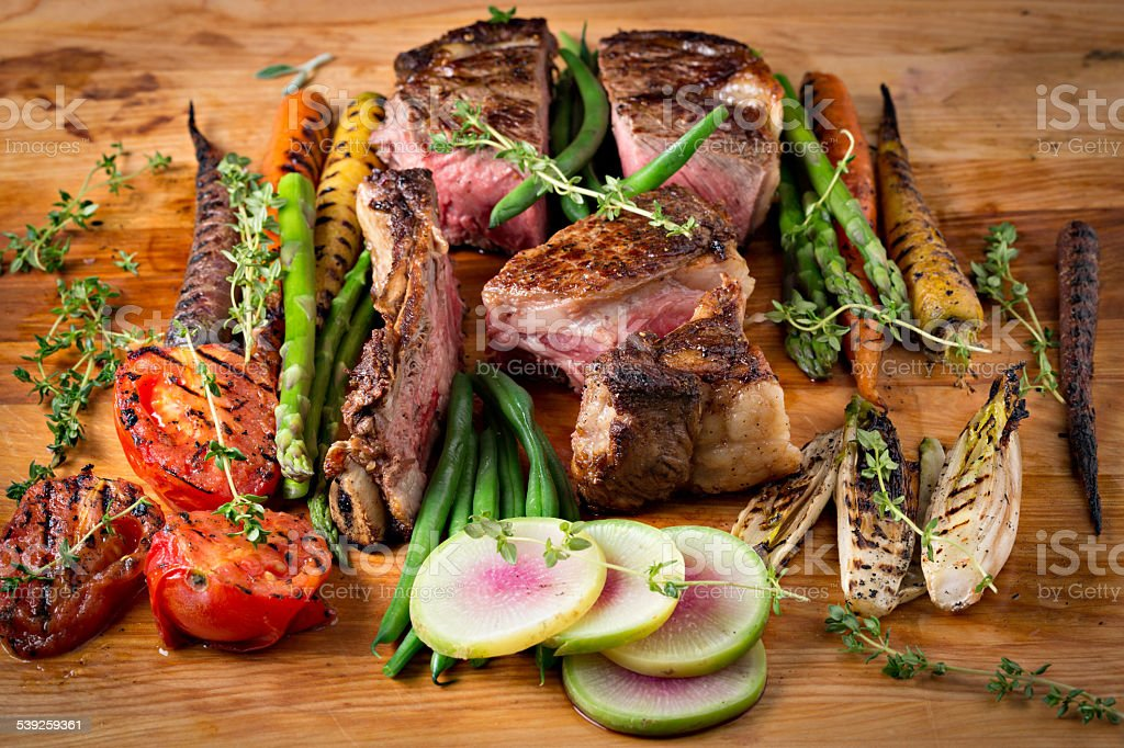 Roasted Ribeye Steak And Vegetables stock photo