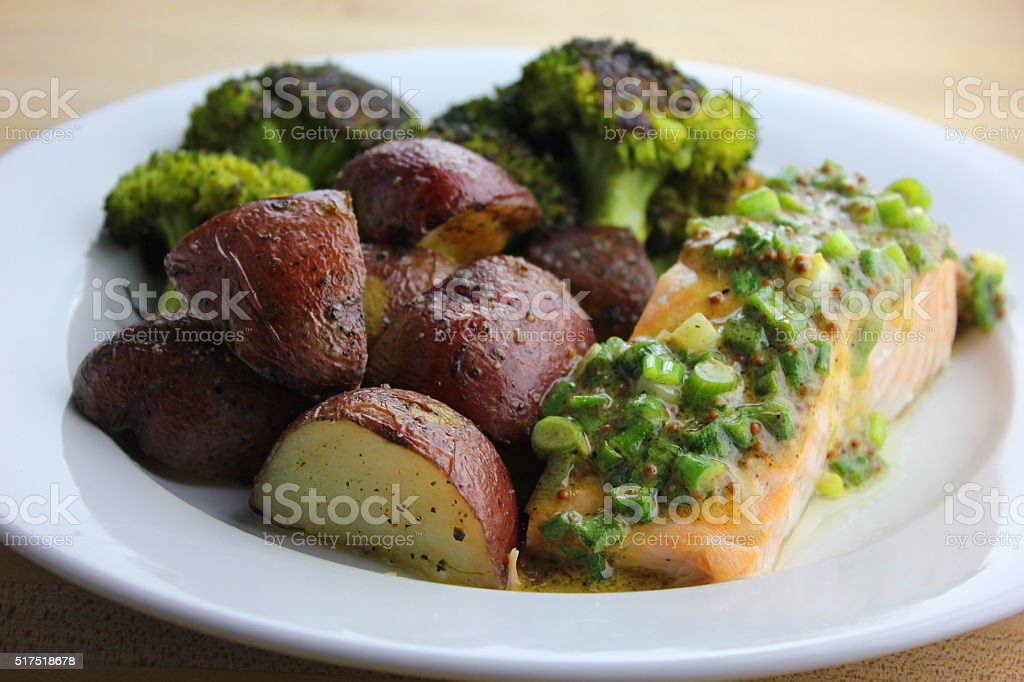 Roasted Salmon stock photo