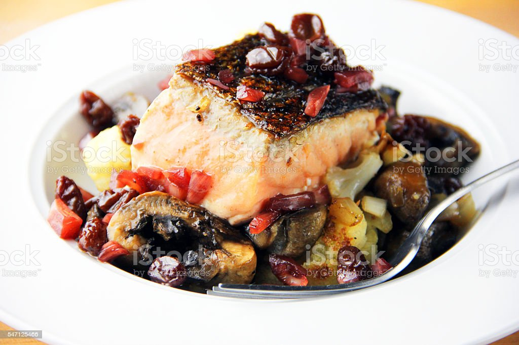Roasted Salmon stock photo