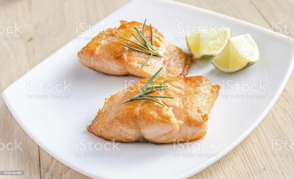 Roasted salmon steak stock photo