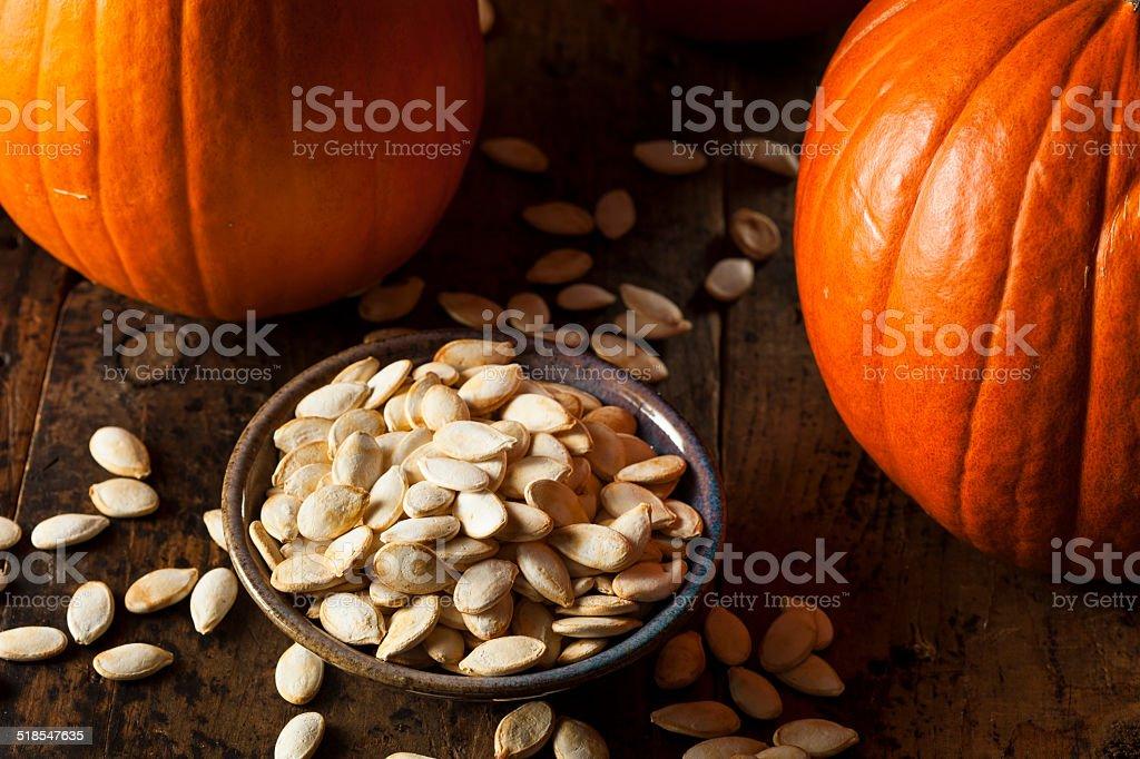 Roasted Salty Pumpkin Seeds stock photo