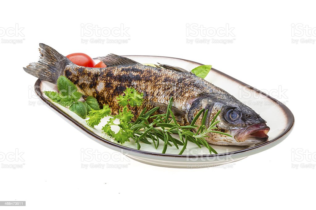Roasted seabass royalty-free stock photo