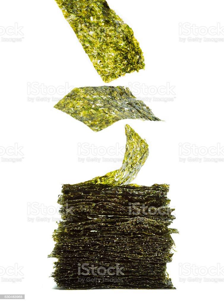 Roasted seaweed sheets stock photo